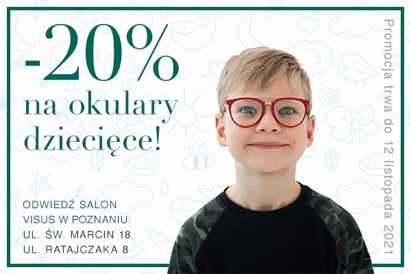 zniżka 20% na okulary dziecięce
